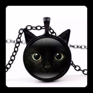 Black Cat Ears Glass Cabechon Necklace New Punk